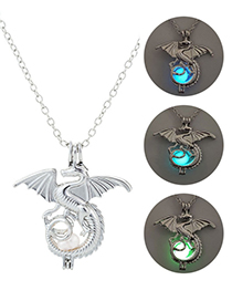 Fashion Blue Green Luminous Dragon Necklace