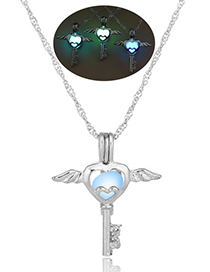 Fashion Yellow Green Angel Key Hollow Angel Key Luminous Cage Necklace
