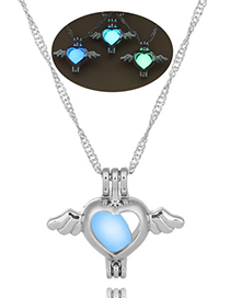 Fashion Yellow Green Angel Heart Openwork Wings Hearts Night Light Cage Necklace