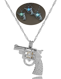 Fashion Yellow Green Pistol Hollow Pistol Styling Luminous Cage Necklace