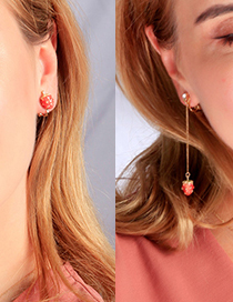 Fashion Asymmetric Earring Drop Glazed Strawberry Earrings