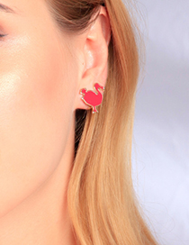 Fashion Ear Clip Red Flamingo Drip Earrings