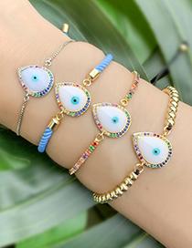 Fashion Gold Copper Inlay Zircon Drop Eye Bracelet