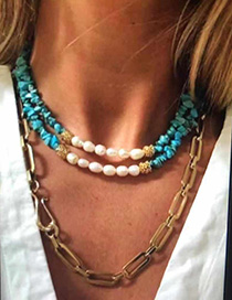 Fashion Green Natural Stone Pearl Necklace