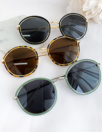 Fashion Green Alloy Resin Frame Round Sunglasses