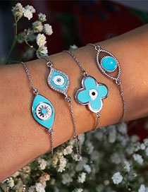 Fashion Cutout Eyes Blue Dripping Alloy Diamond Bracelet