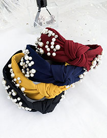 Fashion Navy Blue Cloth Pearls Knot Knot