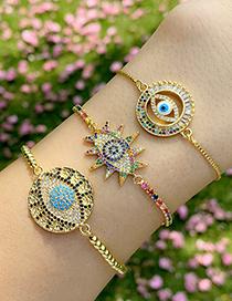 Fashion Hollow Gold Copper Zircon Eye Bracelet