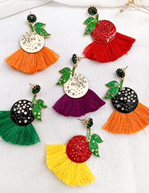 Fashion Black + Orange Fruit Tassel Earrings With Alloy Diamonds
