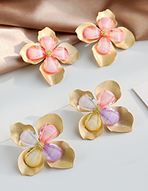 Fashion Color Alloy Resin Double Flower Earrings