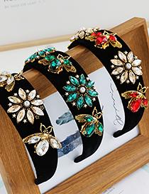 Fashion White Fabric Alloy Rhinestone Flower Bee Headband