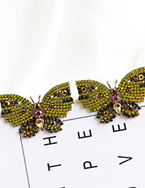 Fashion Yellow Butterfly Earrings With Alloy Diamonds