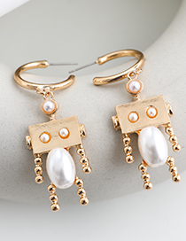 Fashion Gold Color Alloy Pearl Doll Studs