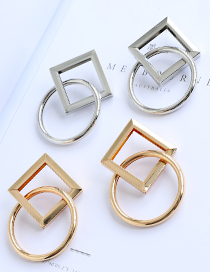 Fashion Gold Color Alloy Square Round Earrings