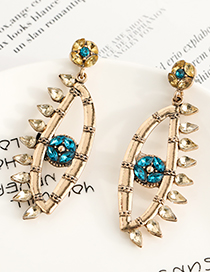 Fashion Champagne Gold Alloy Long Earrings With Diamonds