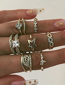 Fashion Golden Alloy Diamond Leaf Five-pointed Star Ring Set