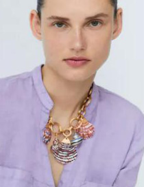 Fashion Golden Alloy Chain Shell Conch Necklace