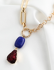 Fashion Golden Alloy Chain Resin Geometric Necklace