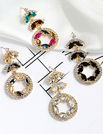 Fashion Color Hollow Round Earrings With Alloy Diamonds