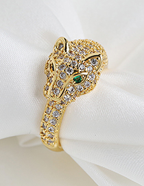 Fashion Golden Copper-set Zircon Leopard Head Ring