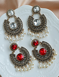 Fashion Red Pearl Stud Earrings With Alloy Diamond