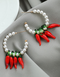Fashion Red Alloy Pearl Chili Earrings