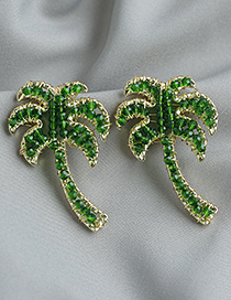 Fashion Green Coconut Tree Stud Earrings