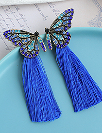 Fashion Purple Butterfly Tassel Earrings With Alloy Diamonds