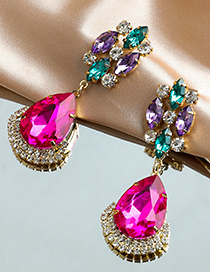Fashion Color Alloy Diamond Stud Earrings
