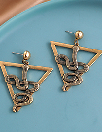 Fashion Golden Alloy Triangle Hollow Snake-shaped Earrings
