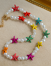 Fashion Color Alloy Resin Starfish Shell Pearl Double Necklace