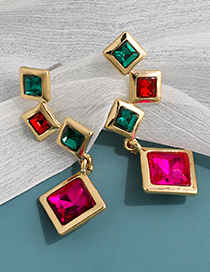 Fashion Color Alloy Diamond Square Earrings