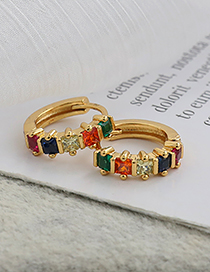 Fashion Golden Copper Inlaid Zircon Color Earrings