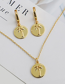 Fashion Golden Copper Inlaid Zircon Coconut Tree Necklace