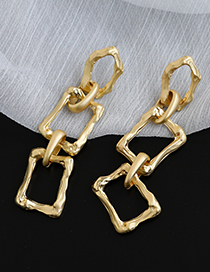 Fashion Golden Alloy Hollow Irregular Square Chain Earrings