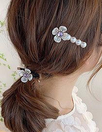 Fashion Green Two-piece Suit Pearl Diamond Flower Hair Rope Hairpin Set