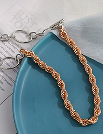 Fashion Golden Alloy Stitching Chain Necklace