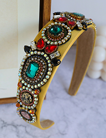 Fashion Color Fabric Alloy Diamond-studded Celebrity Headband