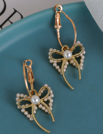 Fashion Gold Color Alloy Diamond Pearl Hollow Round Earrings