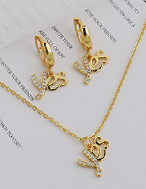 Fashion Gold Color Yes Necklace With Copper And Zircon Letters