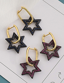 Fashion Gold Color Copper Inlaid Zircon Hexagonal Star Stud Earrings