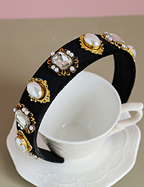 Fashion Fabric+pearl+rhinestone Fabric Diamond Pearl Geometric Headband