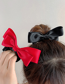 Fashion Red Bow Hair Tie Fabric Alloy Bow Hair Rope Hairpin