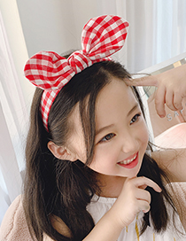 Fashion Mixed Three-piece Suit Fabric Bowknot Checkered Net Yarn Printing Knotted Wide Side Childrens Headband