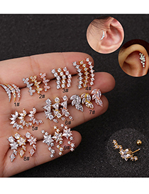 Fashion Moon Golden Stainless Steel Five-pointed Star Geometric Zircon Screw Copper Gold-plated Earrings