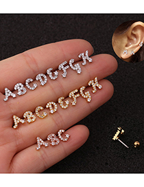 Fashion A Silver Letter Micro Inlaid Zircon Screw Stainless Steel Earrings
