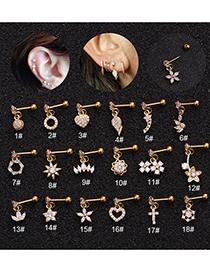 Fashion Round Gold Micro-inlaid Zircon Stainless Steel And Gold-plated Geometric Earrings