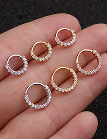 Fashion 6mm Silver Micro-inlaid Zircon Geometric Round Gold-plated Nose Ring