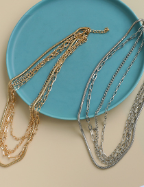Fashion Gold Color Color Alloy Chain Multilayer Necklace
