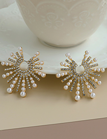 Fashion Gold Color Alloy Diamond Pearl Star Earrings